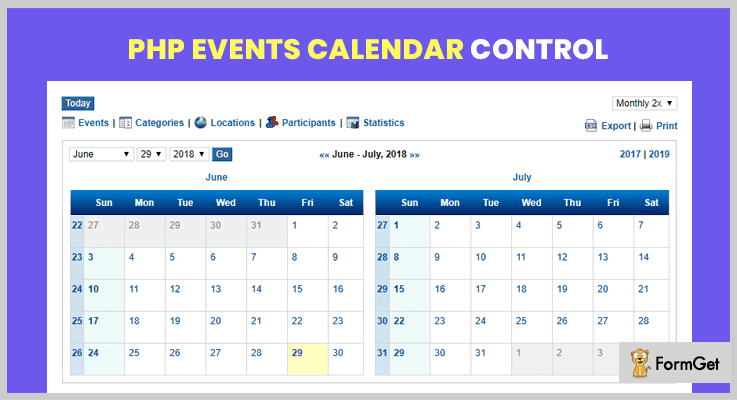 PHP Events Calendar Control Scheduling PHP Script