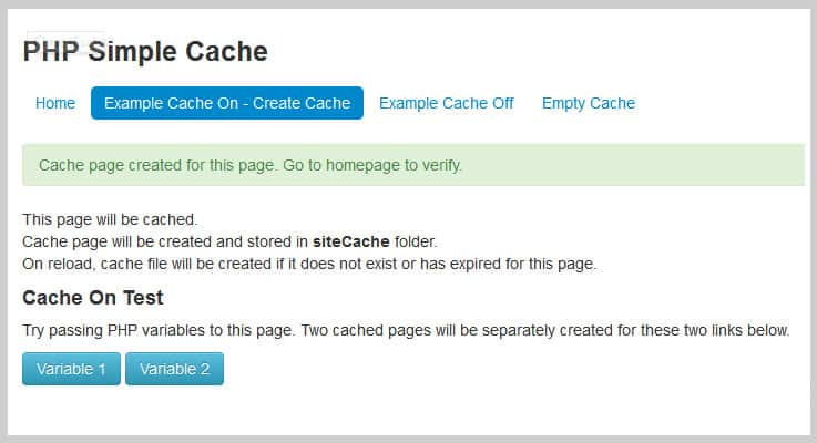 PHP Simple Cache PHP Script