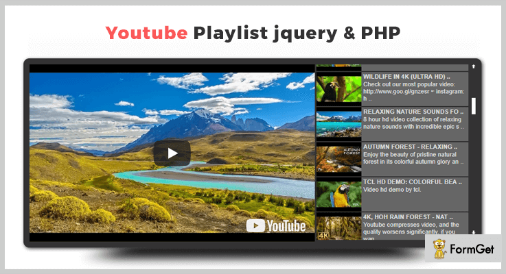 YouTube Playlist jQuery PHP Gdata API YouTube PHP Script