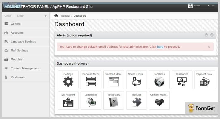 ApPHP Restaurant PHP Script
