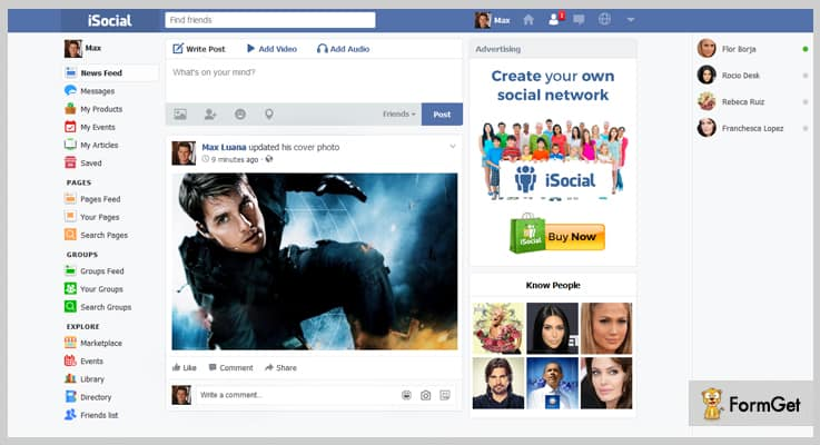 iSocial Facebook Clone PHP Script