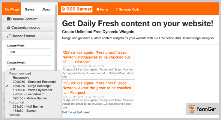 RSS Banner RSS Feed PHP Script