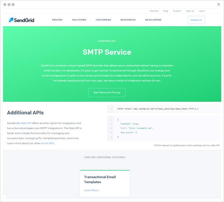 Sendgrid SMTP Service