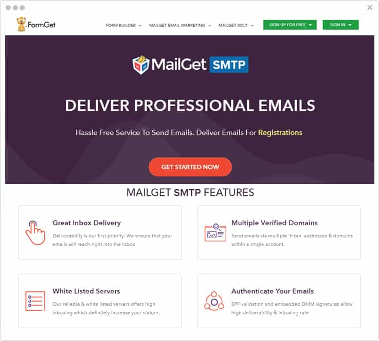 MailGet SMTP Service