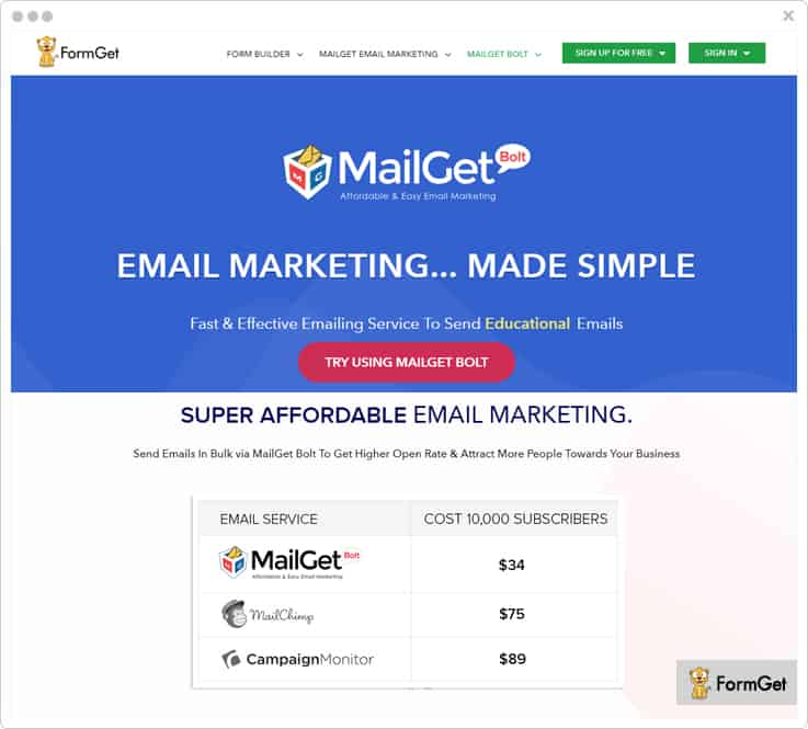 MailGet Bolt Campaign Monitor Alternative