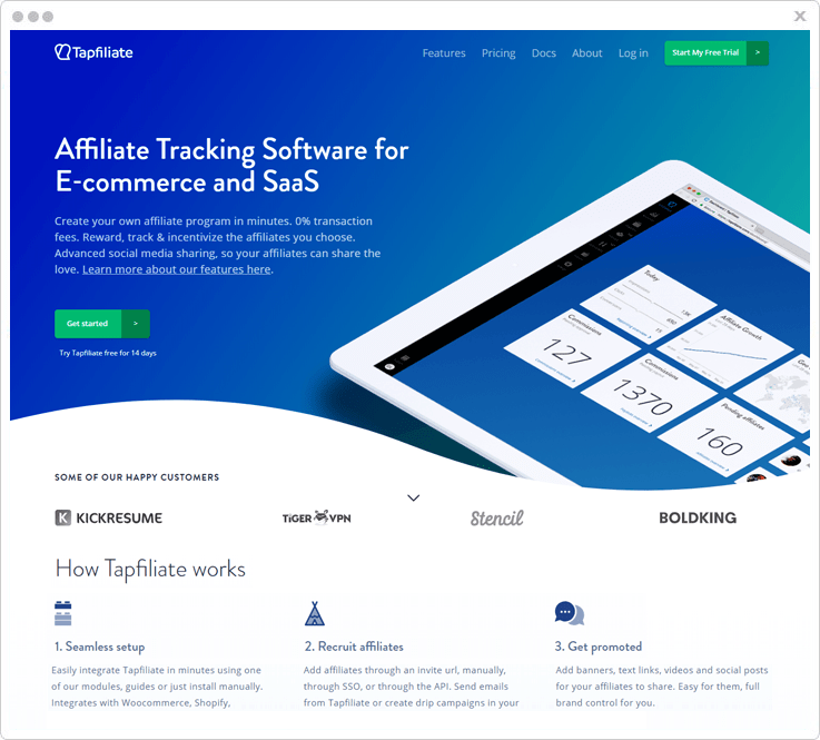 Affiliate Tracking Software Tapfiliate