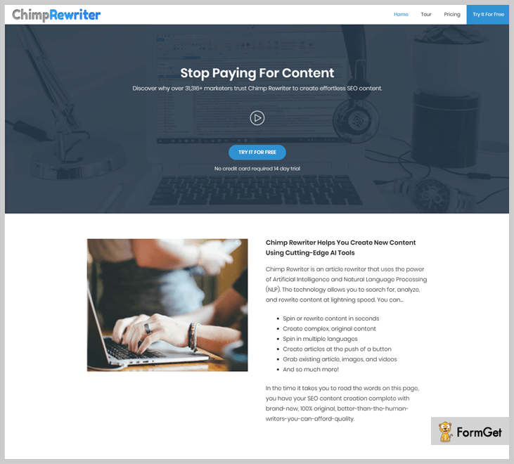 ChimpRewriter Article Spinner Tool