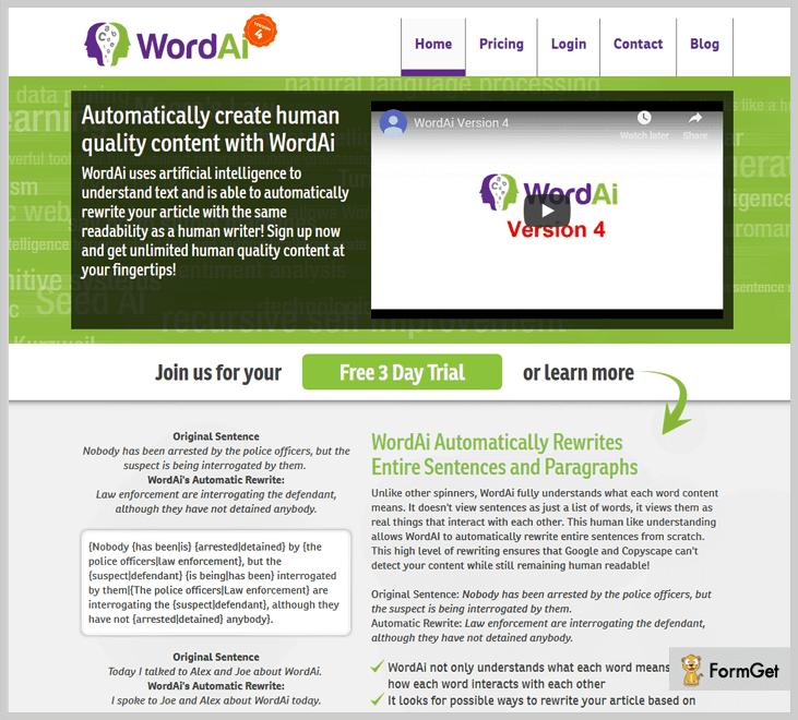 WordAi - Best paraphrasing Tool