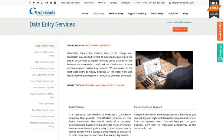 Gtechwebindia - Best Data Entry Software