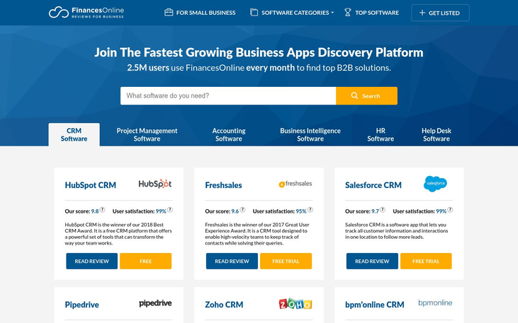 FinancesOnline - Software Review Sites