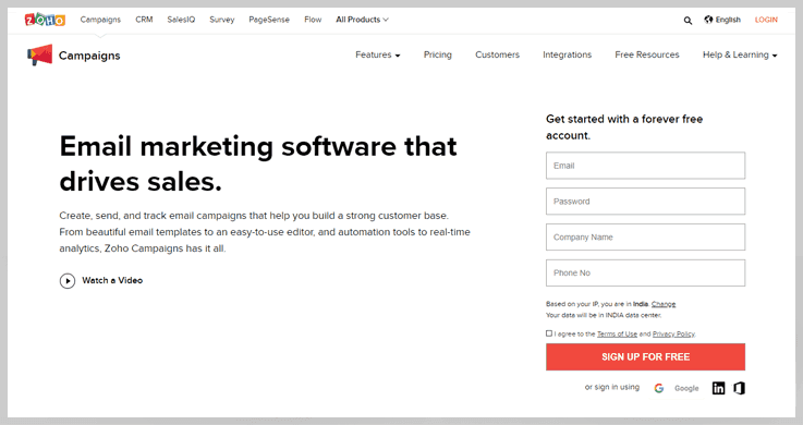 Zoho Campaigns - Motionmail Alternatives
