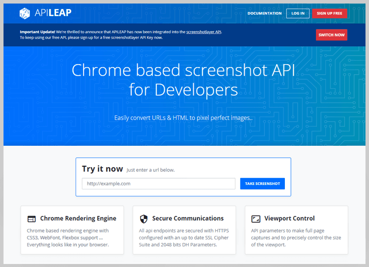 ApiLeap - Website Screenshot Generator
