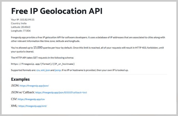 freegeoip.app - Ip To Location Lookup