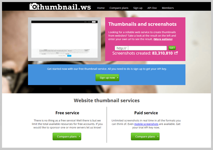 thumbnail.ws - Website Screenshot Generator