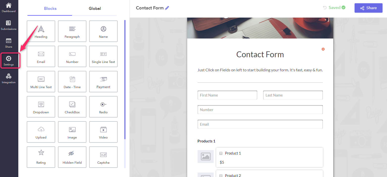 Share Option - Responsive Google Forms