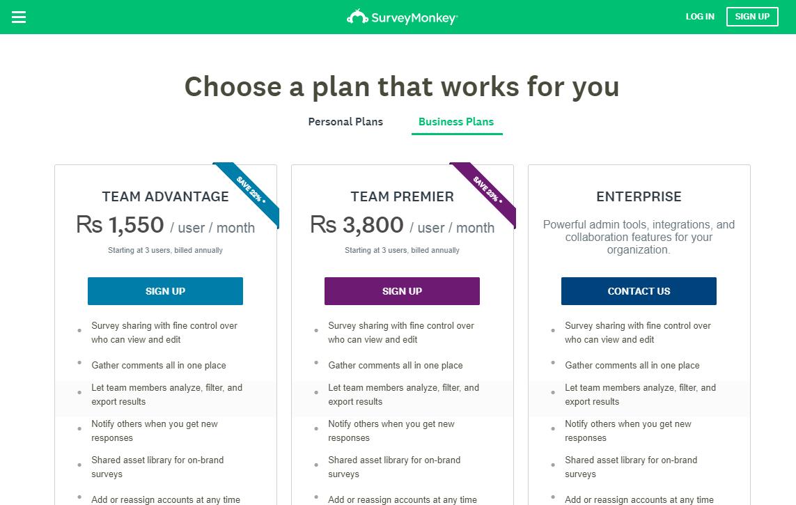 Survey Monkey Pricing