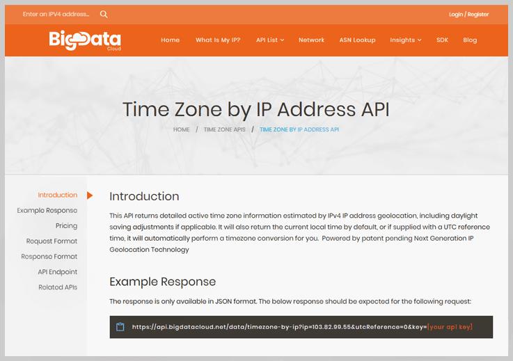 BigData Cloud Timezone API