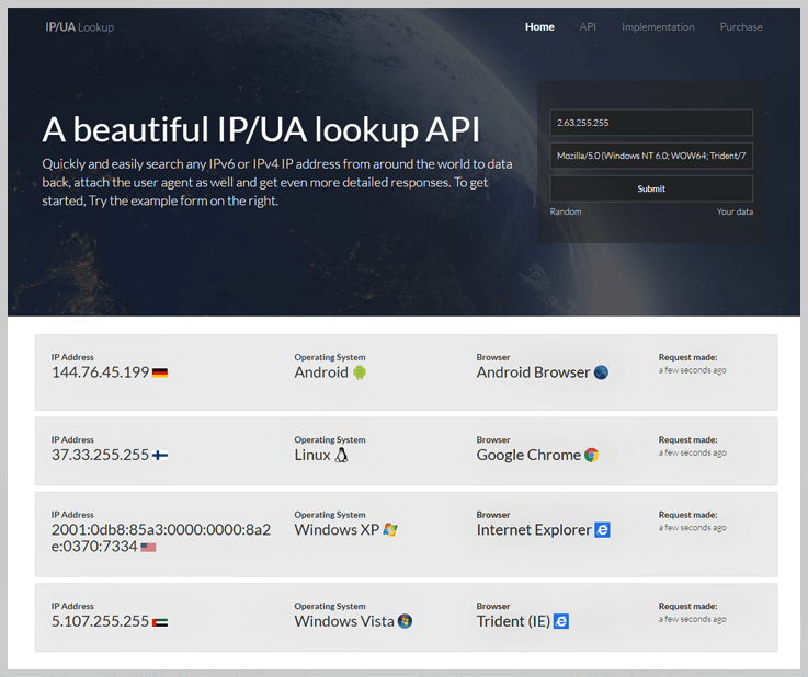 IP and User Agent Lookup API Search Tool - User Agent Browser Detection