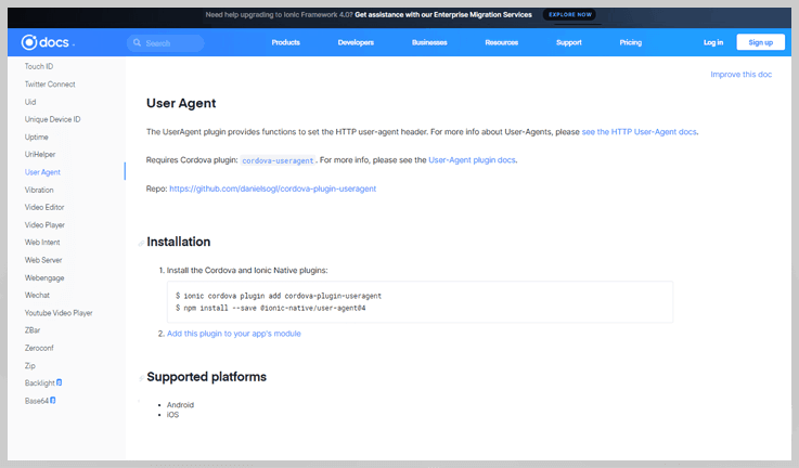 Ionic Framework - User Agent Browser Detection