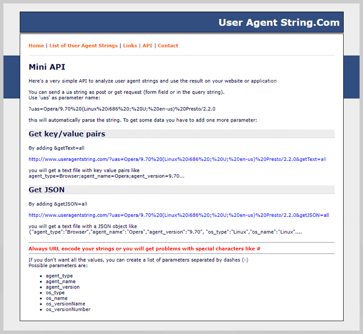 User Agent String.Com - Parse User Agent