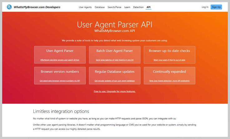 WhatIsMyBrowser.com API