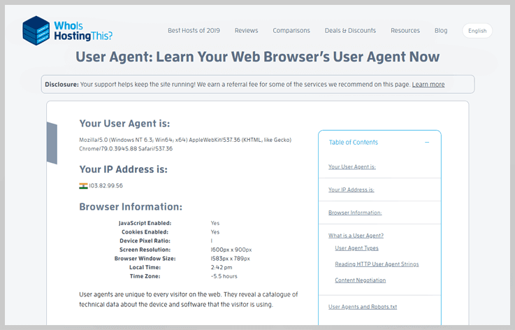 WhoIsHostingThis - User Agent Browser Detection