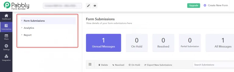 View Form Submissions - Facebook form