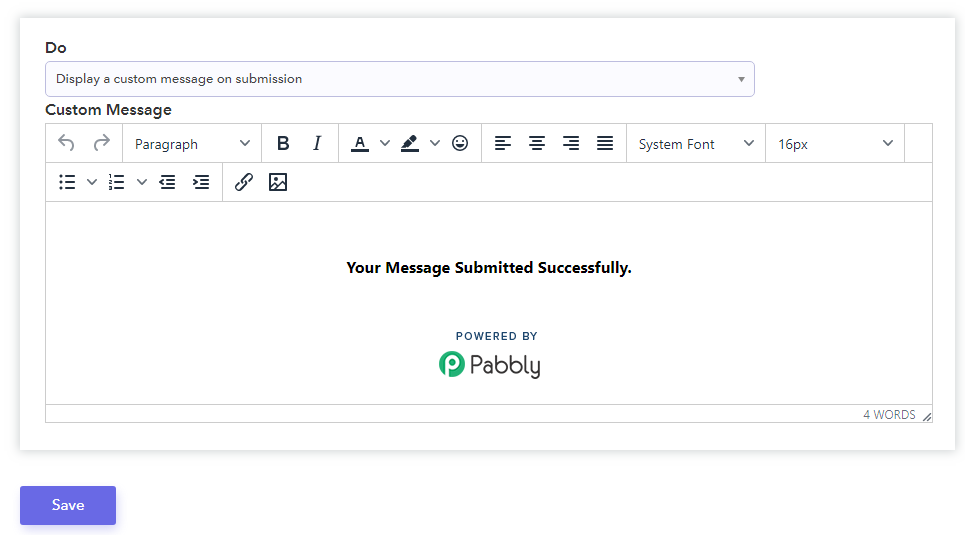 Display A Custom Message On Submission - Pabbly Form Builder