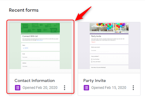 Open Your Form - Google Forms