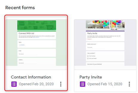 Open Google Form - Google Forms