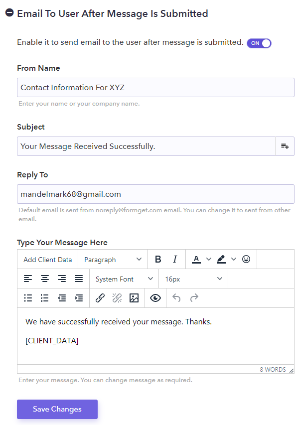 Response Email Settings - Pabbly Form Builder