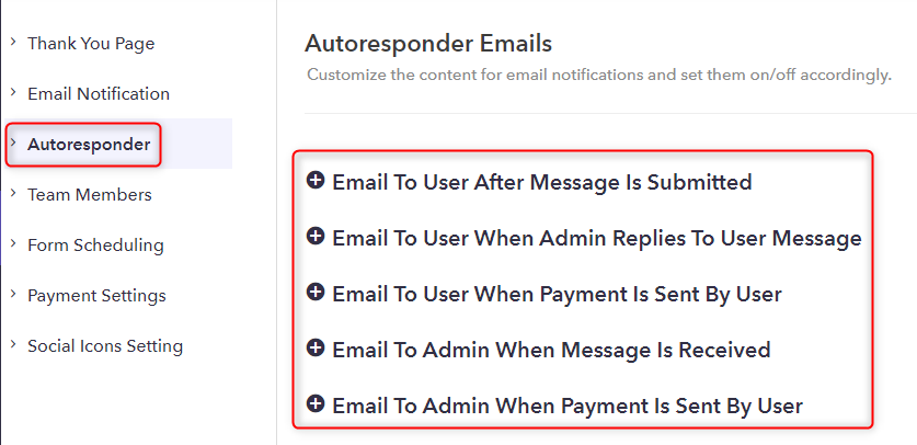 Autoresponder Section - Pabbly Form Builder