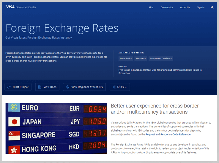 Foreign Exchange Rates by Visa developer center