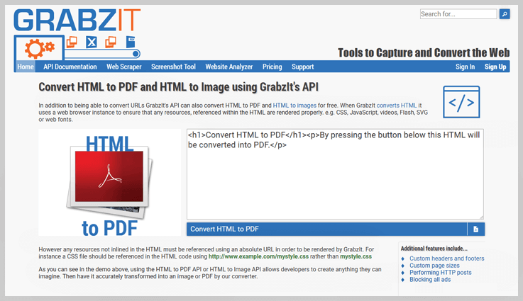 GrabzIt HTML to PDF API - Export Web To Pdf