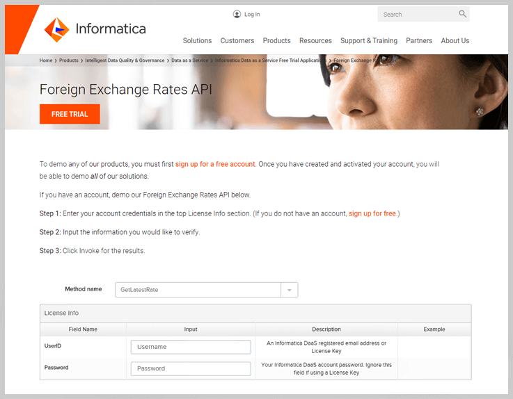 Informatica – Foreign Exchange Rates API