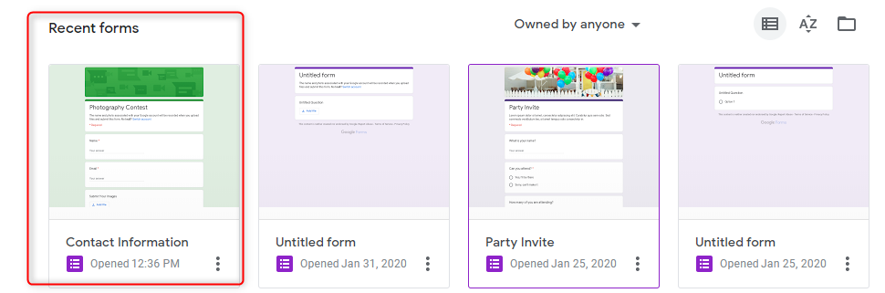 Open A Form - Google Forms
