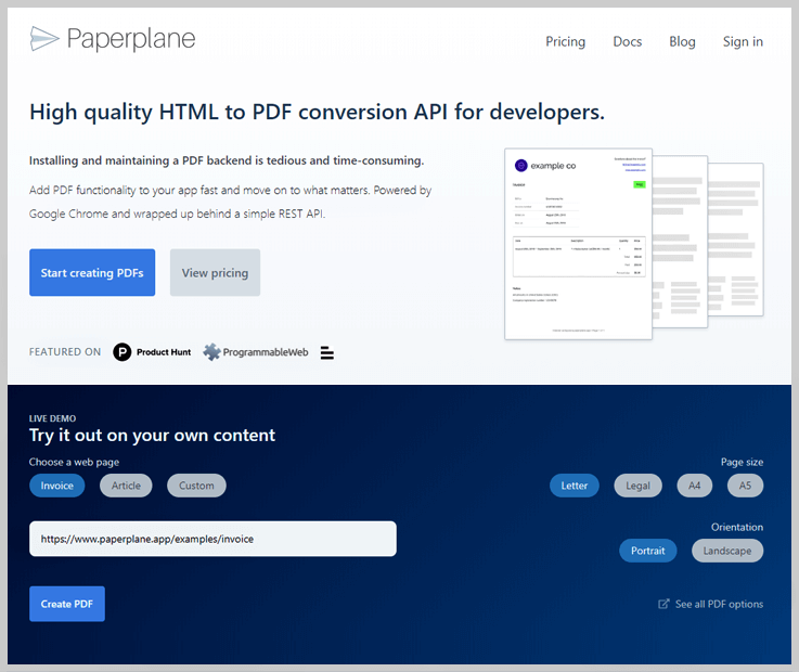 Paperplane - Export Web To Pdf