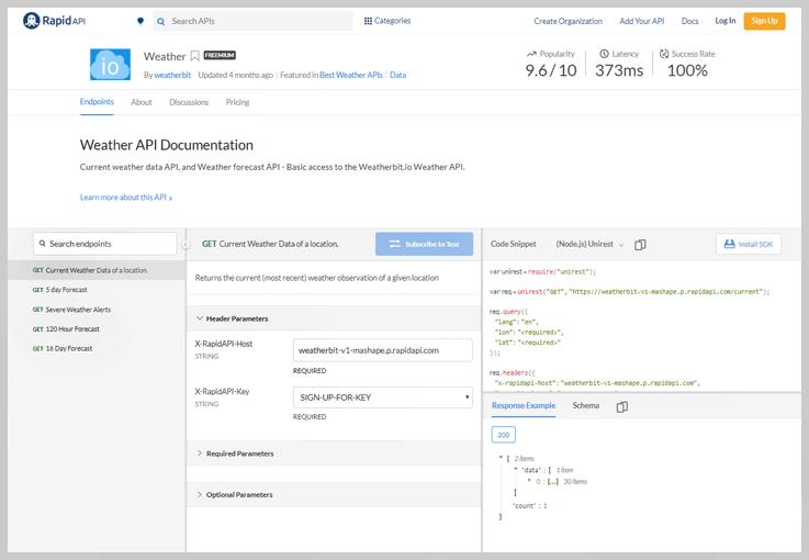 Weatherbit API