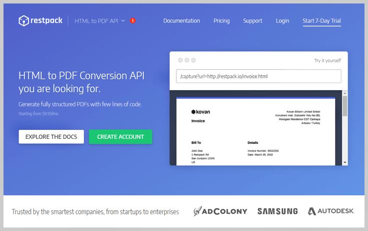 Restpack HTML To PDF Converter