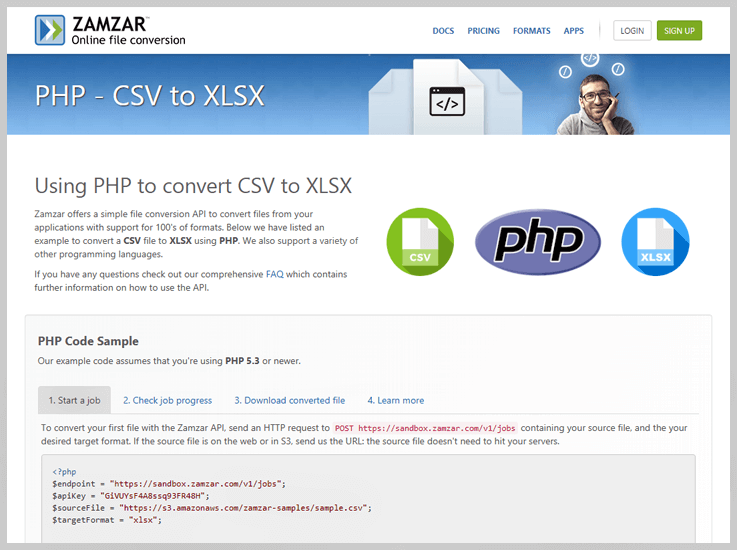 Zamzar – CSV Converter API - Csv To Array Api