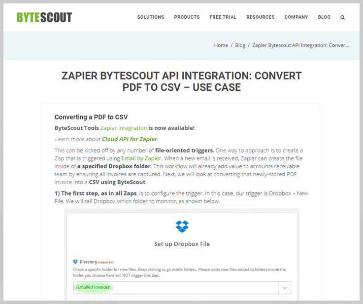 Zapier Bytescout API Integration