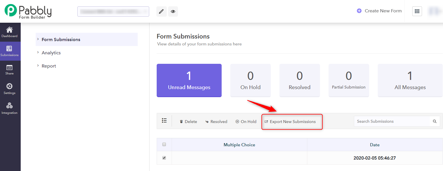 Export Responses-Pabbly Form Builder