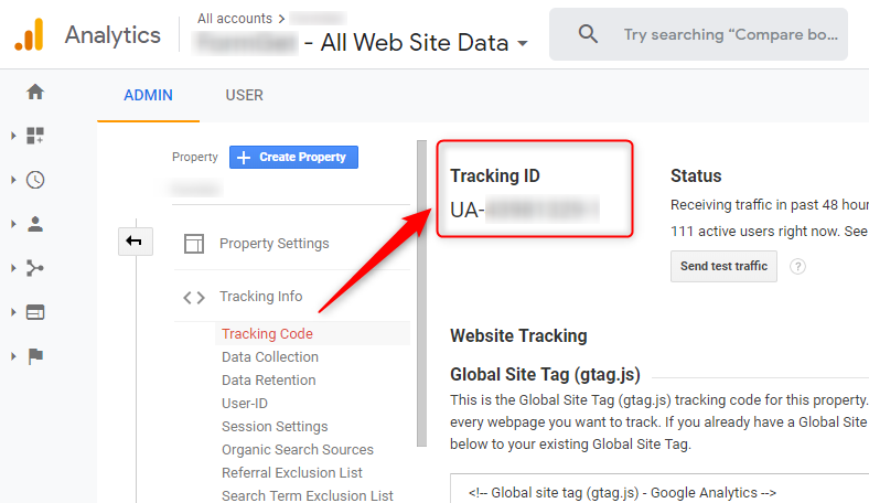 Copy The Tracking Id - Google Analytics Dashboard
