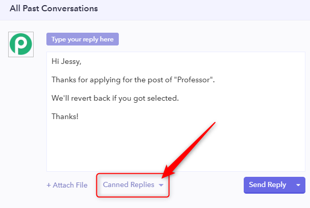 Canned Replies - Pabbly Form Builder