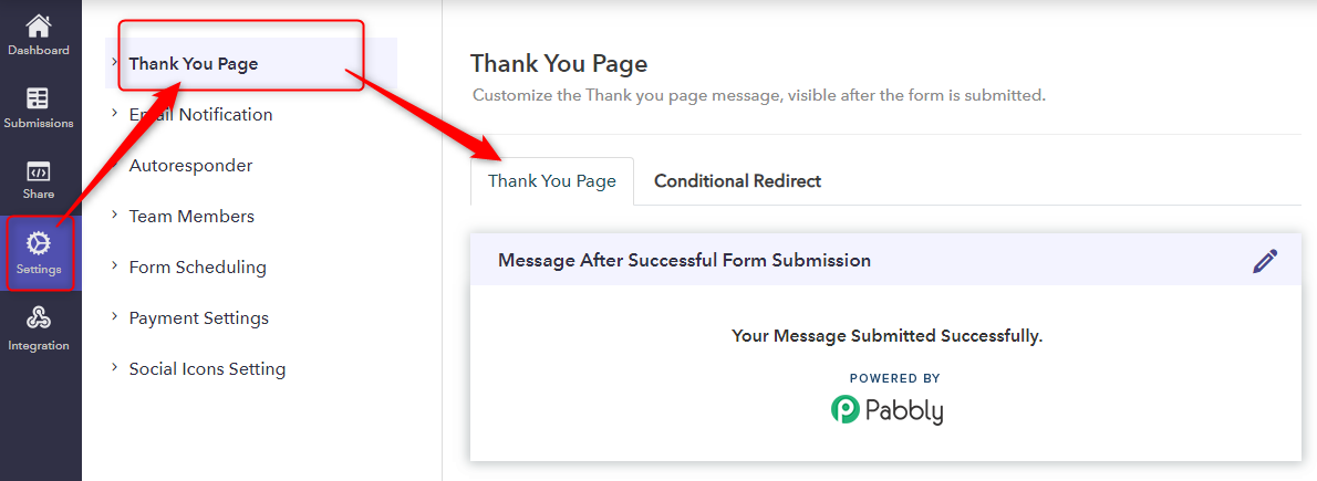 Customize Thank You Page - Pabbly Form Builder