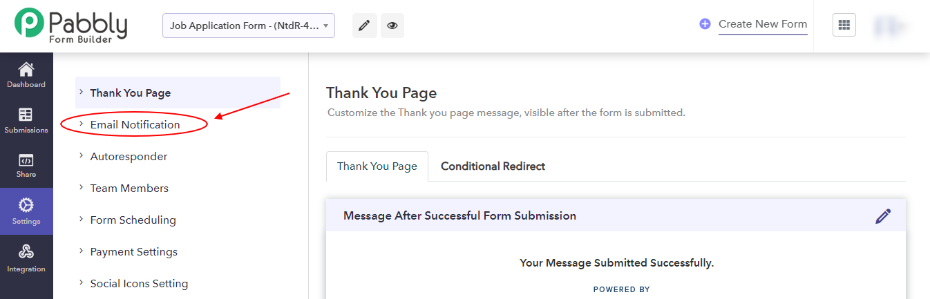 Email Notification Tab-Pabbly Form Builder