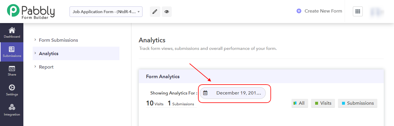 Showing Analytics Option-Pabbly Form Builder