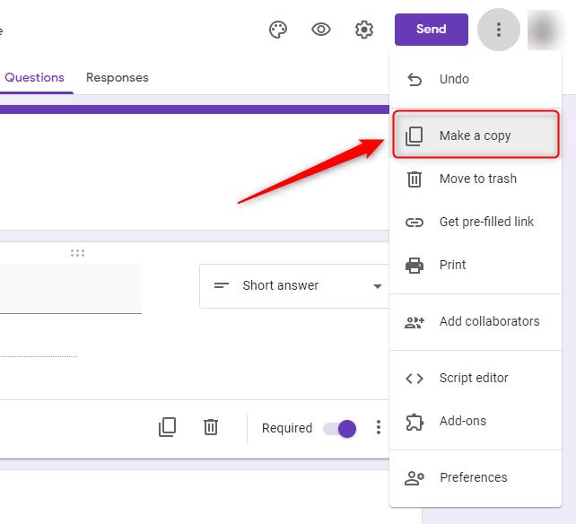 Make a copy - Google Form