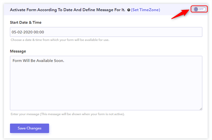 Activation Date And Time Toggle - Pabbly Form Builder