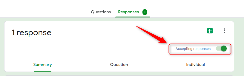 Accepting Response Section-Google Forms